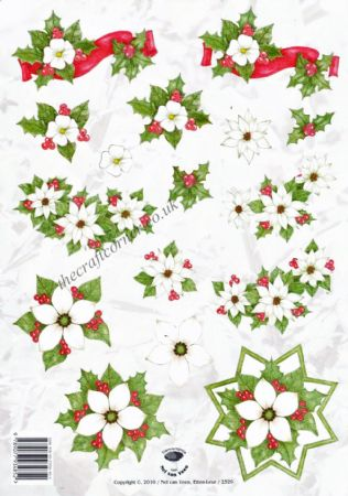 Christmas Roses 3d Decoupage Sheet